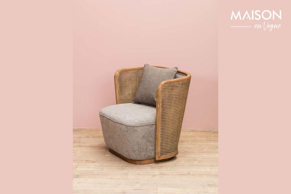 Beau fauteuil mixte rotin et tissu
