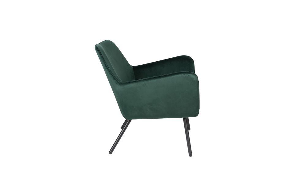 Fauteuil lounge Bon en velours vert - 7