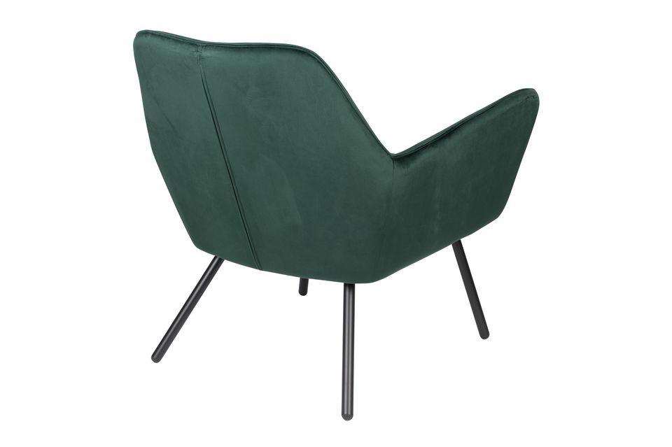 Fauteuil lounge Bon en velours vert - 8