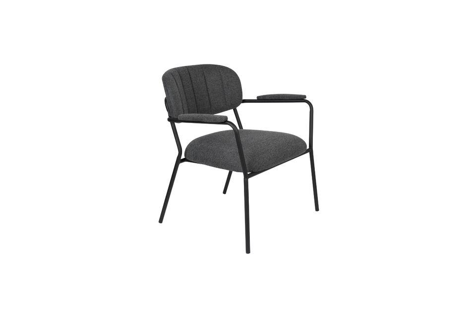 Fauteuil lounge Jolien gris foncé - 5