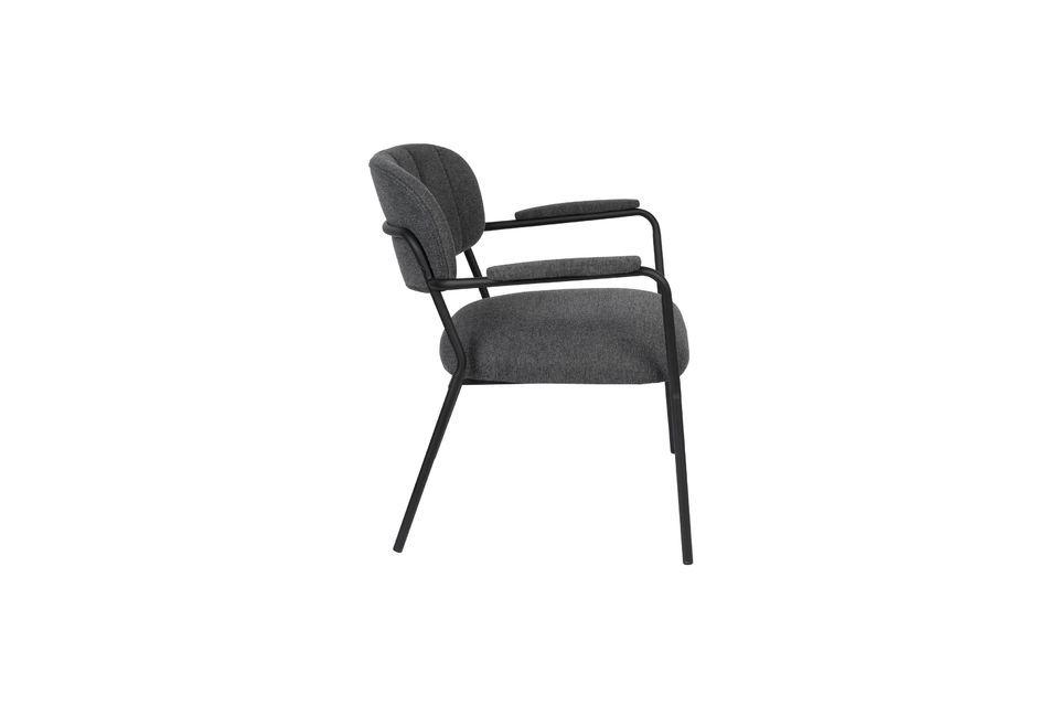 Fauteuil lounge Jolien gris foncé - 7