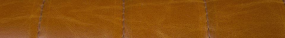Mise en avant matière Fauteuil Stitched coloris cognac