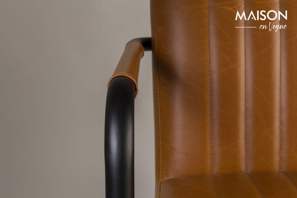 Fauteuil Stitched coloris cognac - 6