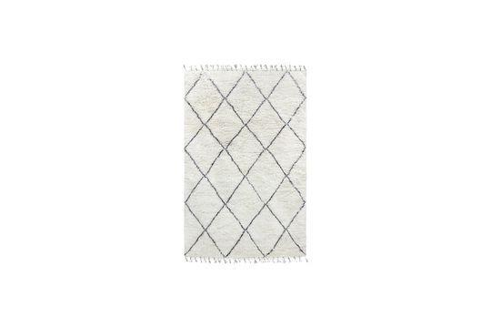 Grand tapis berbère Larra en laine noir et blanc Détouré