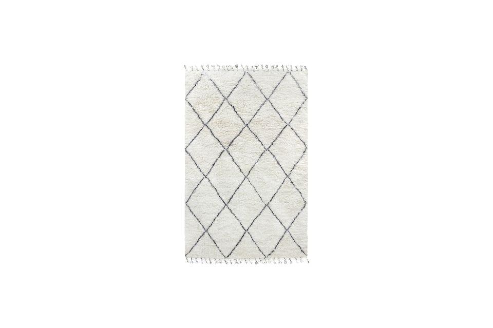 Grand tapis berbère Larra en laine noir et blanc