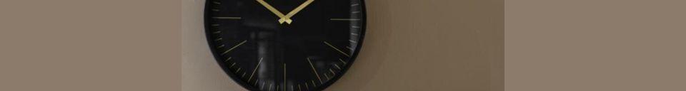 Mise en avant matière Horloge murale Onyx noir et or