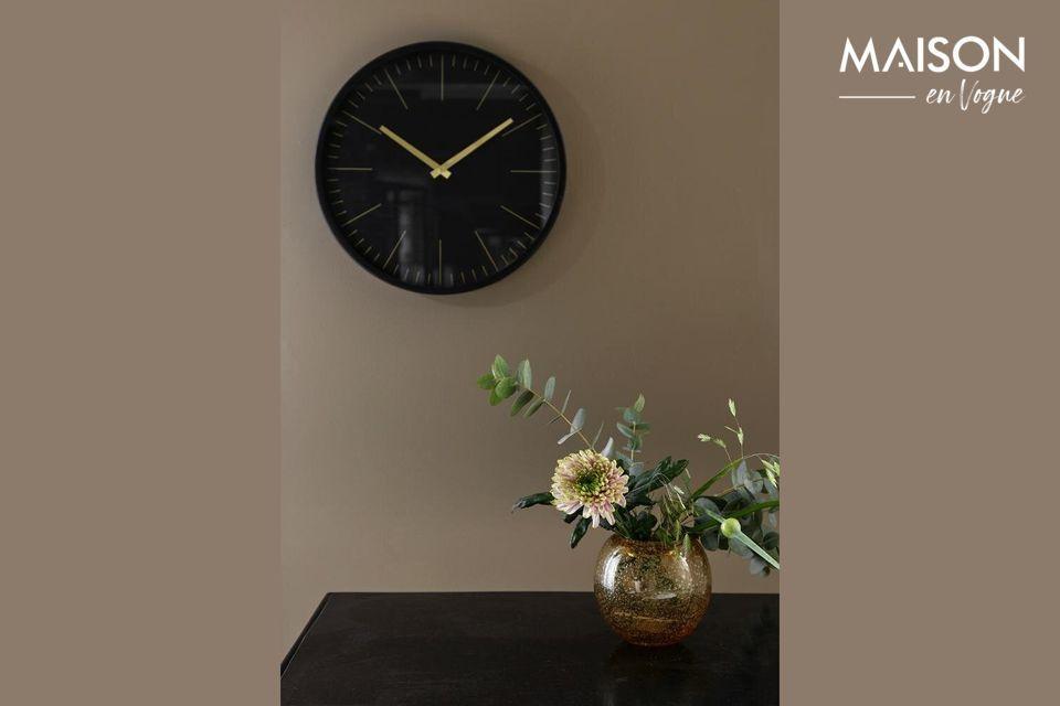 Horloge murale Onyx noir et or Nordal