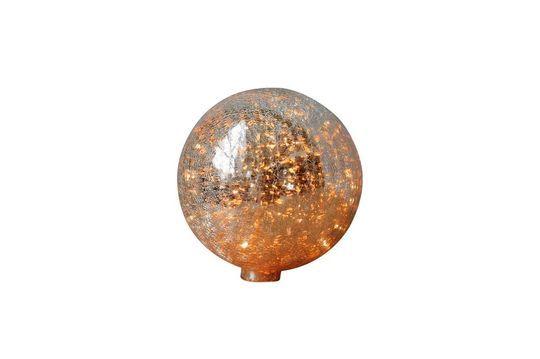 Lampe à poser 20 cm boule en verre mercurisé craquelé et guirlande Détouré