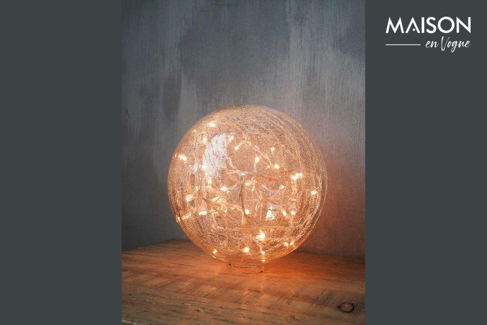 Lampe à poser 25 cm boule en verre clair craquelé Chehoma