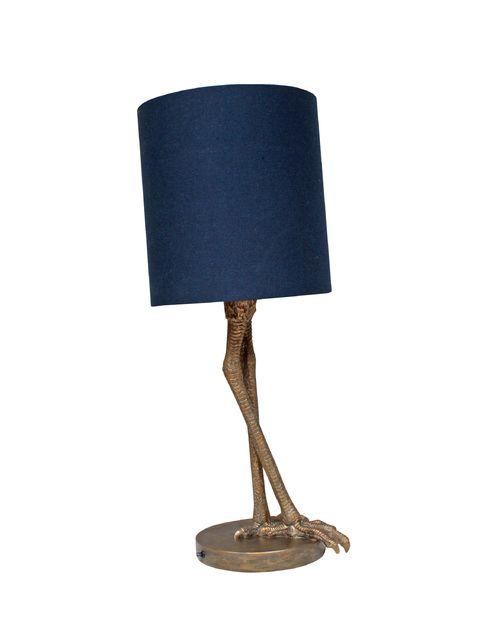 La lampe à poser Anda propose un abat-jour cylindrique de teinte bleue foncée très classique et