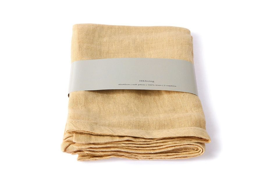 Lot de 2 serviettes de table Cavan en lin jaune HK Living