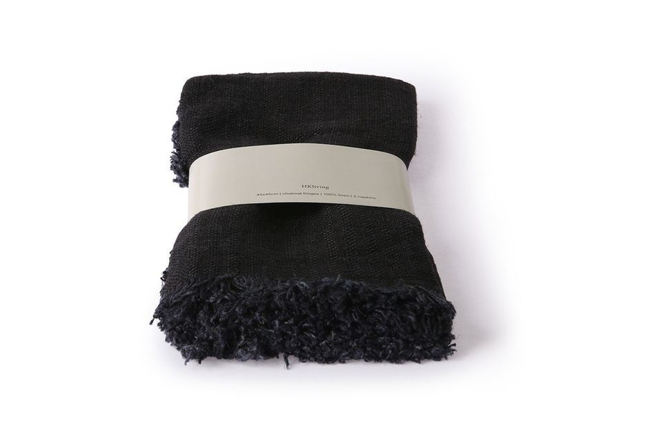 Lot de 2 serviettes Fleury en lin anthracite HK Living