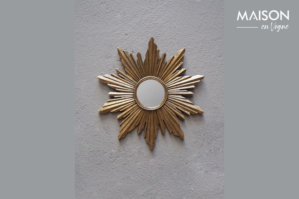 Miroir soleil Segrois en résine dorée Chehoma