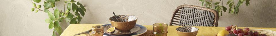 Mise en avant matière Nappe Métisse carrée jaune en lin et coton