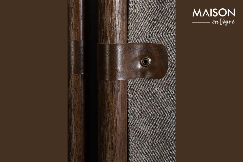 Fait d\'une structure en bois de hêtre laqué brun foncé et de panneaux en tissu de polyester