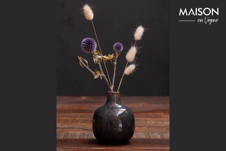 Petit vase en céramique gris noir Houlle