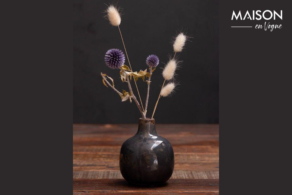 Petit vase en céramique gris noir Houlle Chehoma