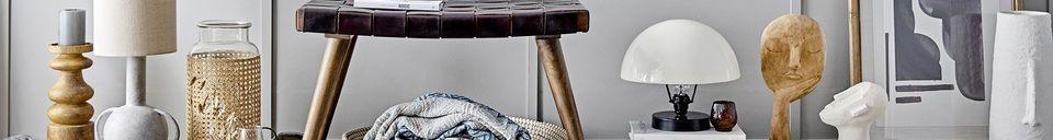 Mise en avant matière Plaid Lacenas bleu en coton recyclé