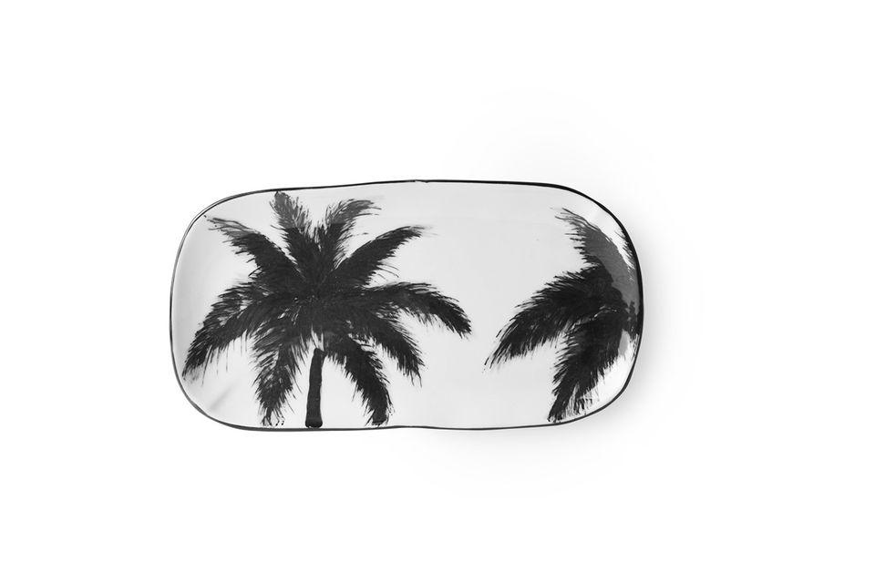 Plateau palmiers Fréthun en porcelaine