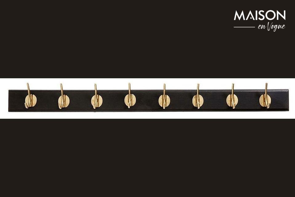 Avec ses 8 crochets dorés fixés sur une planche en bois profilée de 90 cm