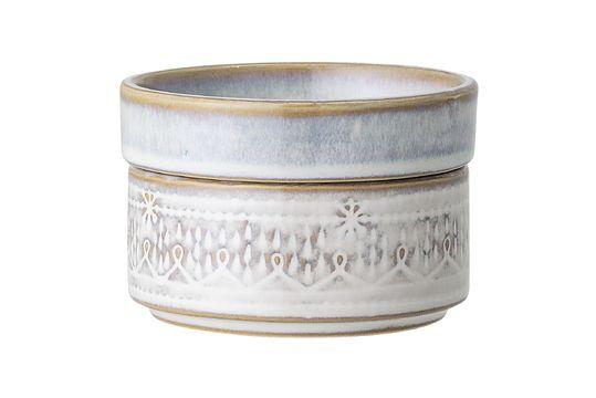 Pot Camélia en grès blanc avec couvercle Détouré