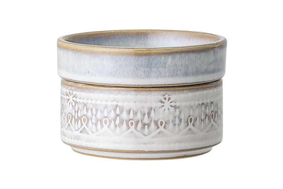 Pot Camélia en grès blanc avec couvercle