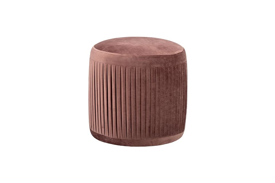 Pouf plissé Pleat rose en polyester Bloomingville