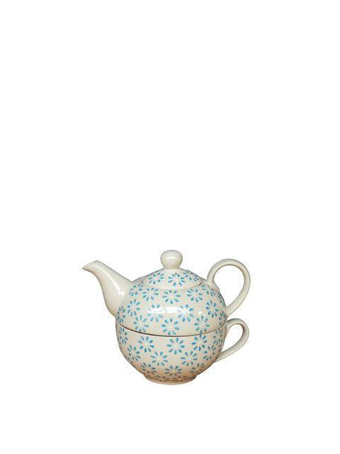 Une jolie théière pouvant être posée sur sa tasse assortie, pour un gain de place optimal