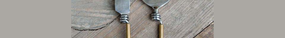 Mise en avant matière Set de 2 couverts Souris avec manche en laiton