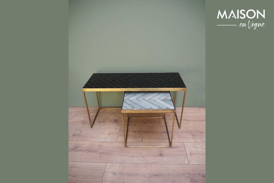 Set de 2 tables basses Métro en céramique et métal Chehoma