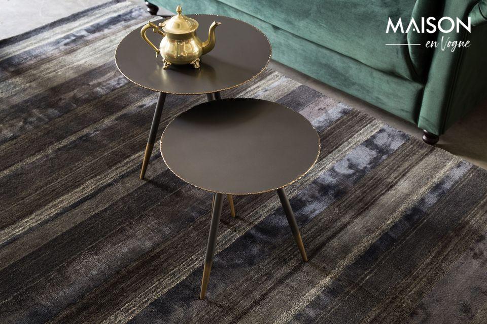 Ensemble de 2 tables d'appoint rondes en métal gris