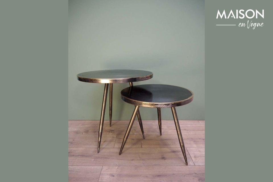 Set de 2 Tables d'appoint Flaxieu en Métal brossé