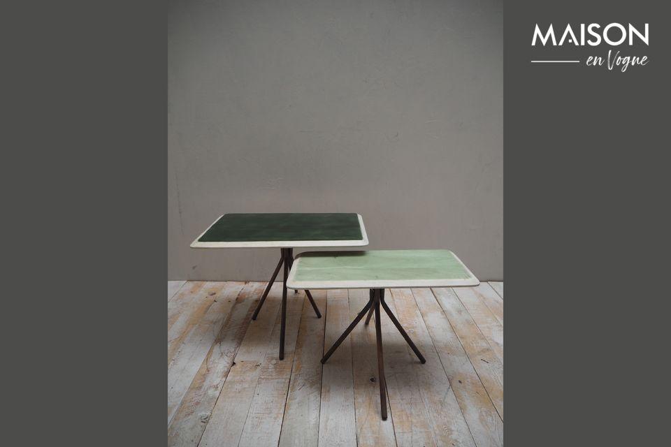 Set de 2 tables Rêverie vertes en bois laqué Chehoma