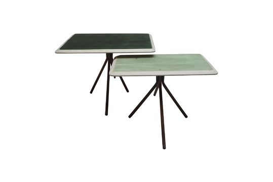 Set de 2 tables Rêverie vertes en bois laqué Détouré