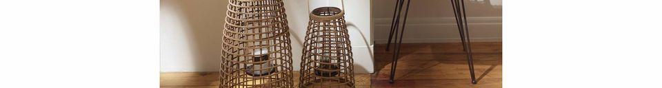 Mise en avant matière Set de 3 lanternes Skagen en bambou