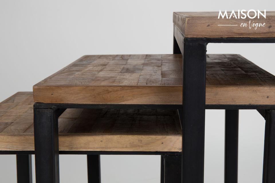 La table d\'appoint Suri Set de 3 proposée par White Label Living ajoute une touche contemporaine