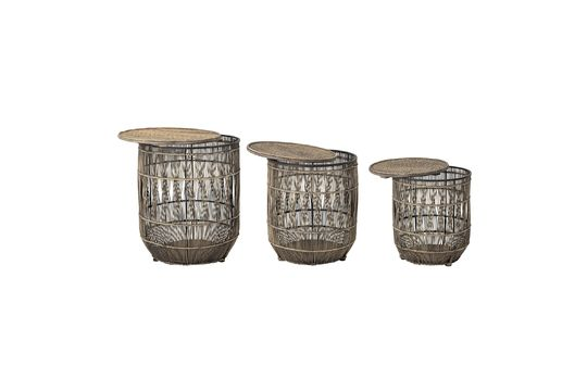 Set de 3 tables d'appoint Vrocourt en bambou