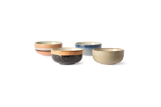 Set de 4 bols en céramique 70's moyens