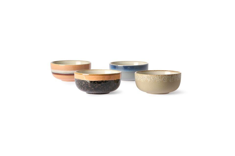 Set de 4 bols en céramique 70's moyens HK Living