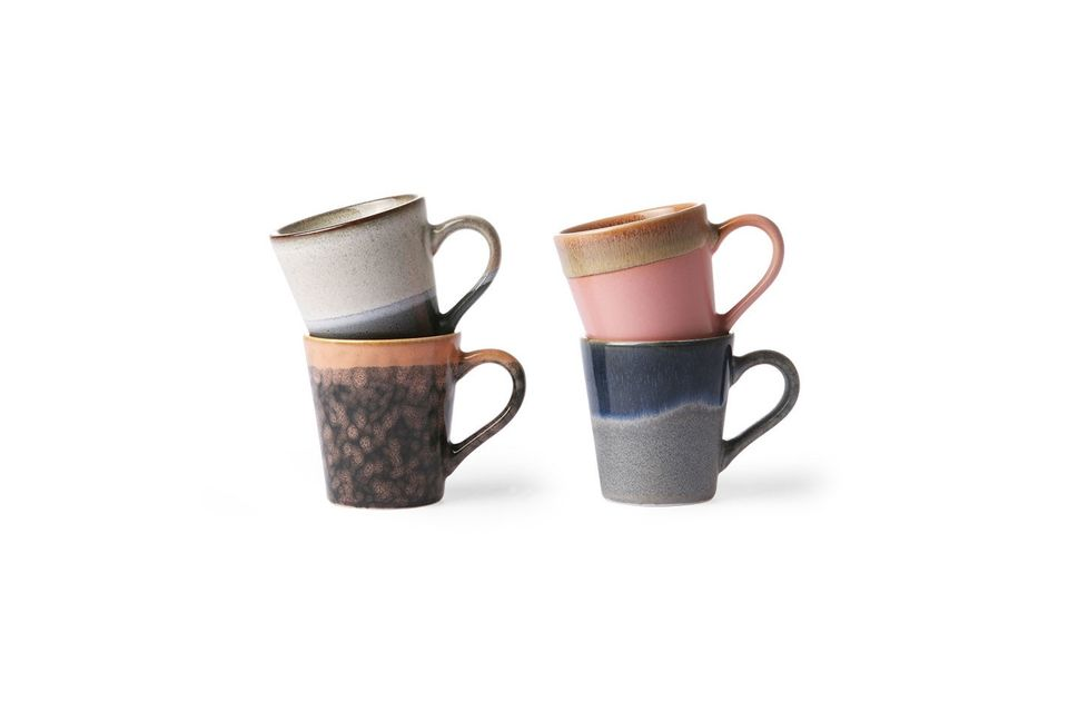 Set de 4 mugs à espresso en céramique 70's HK Living
