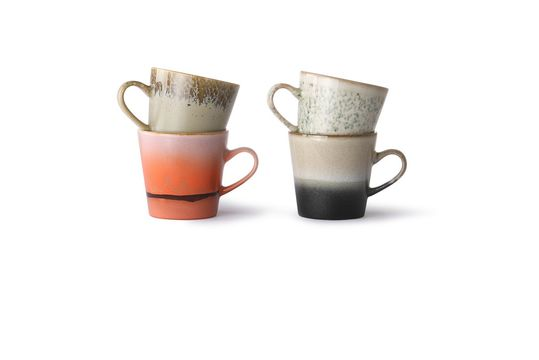 Set de 4 Mugs americano en céramique 70's