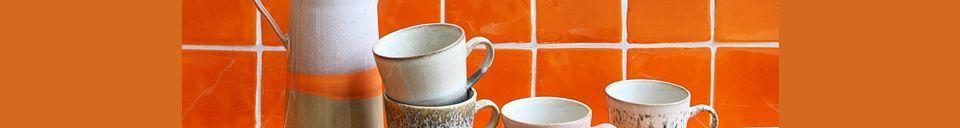 Mise en avant matière Set de 4 Mugs americano en céramique 70's