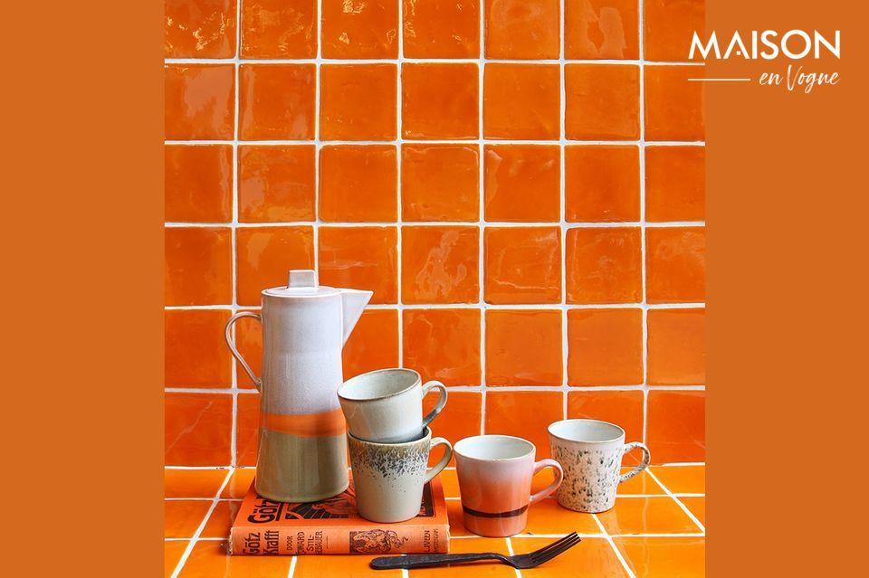 Set de 4 Mugs americano en céramique 70's HK Living