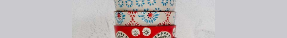 Mise en avant matière Set de 4 petits bols en céramique Bohemian