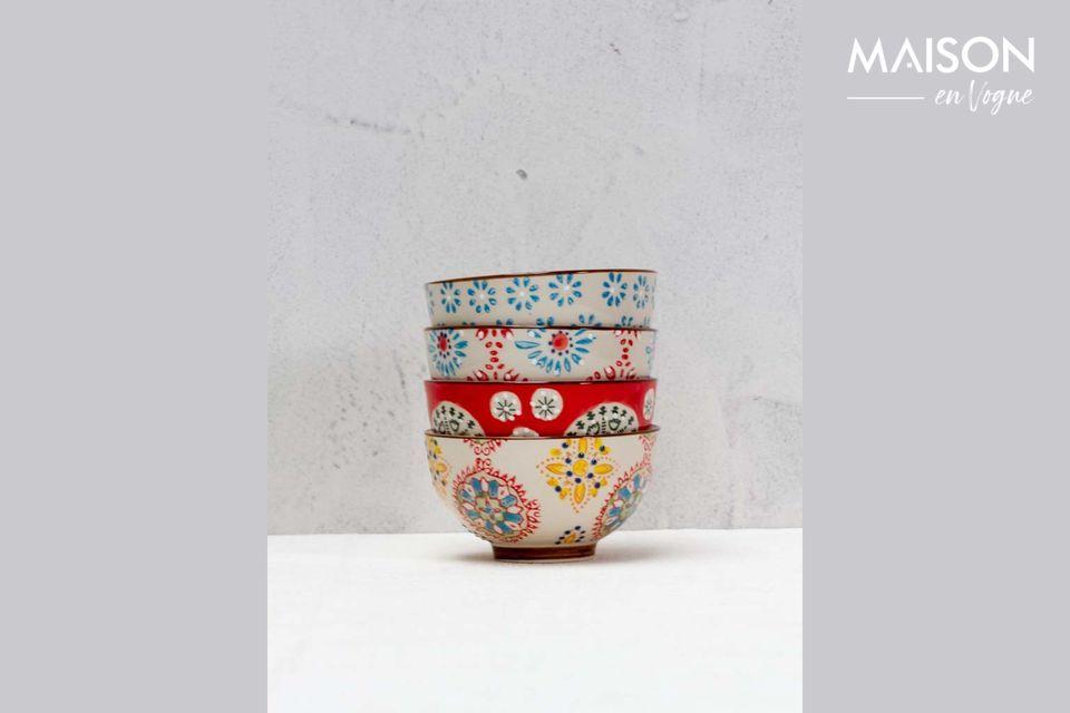 Set de 4 petits bols en céramique Bohemian Chehoma