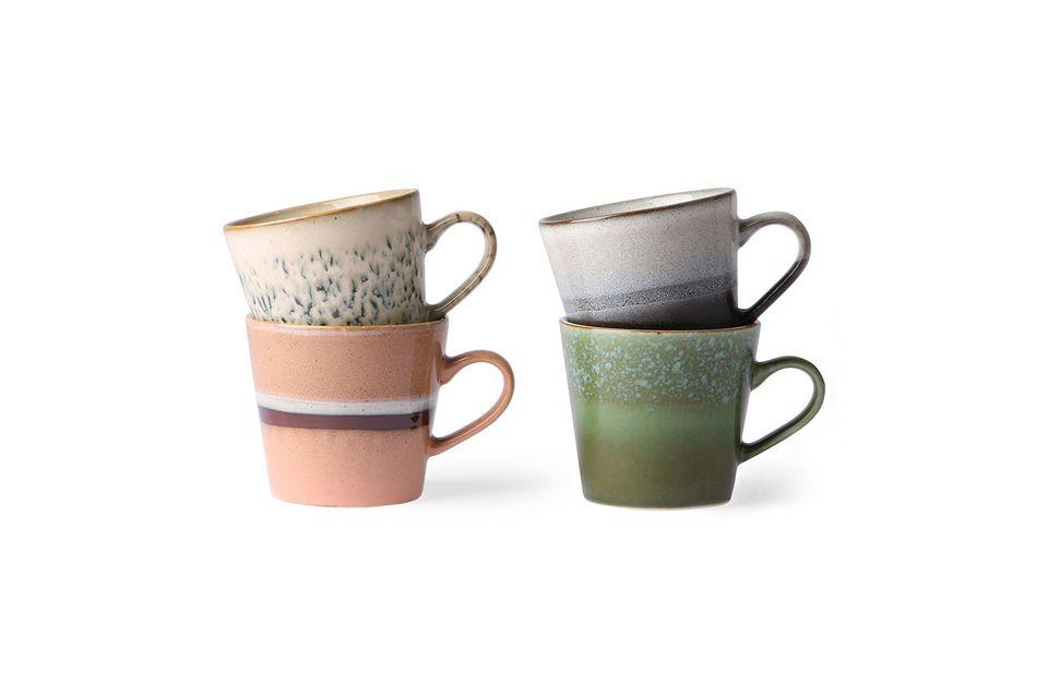 Set de 4 tasses à cappuccino en céramique 70's