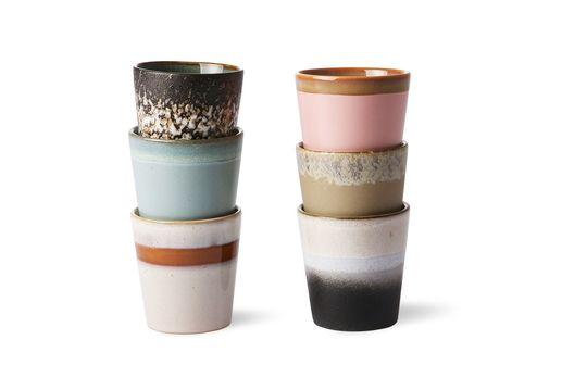 Set de 6 mugs en céramique 70's