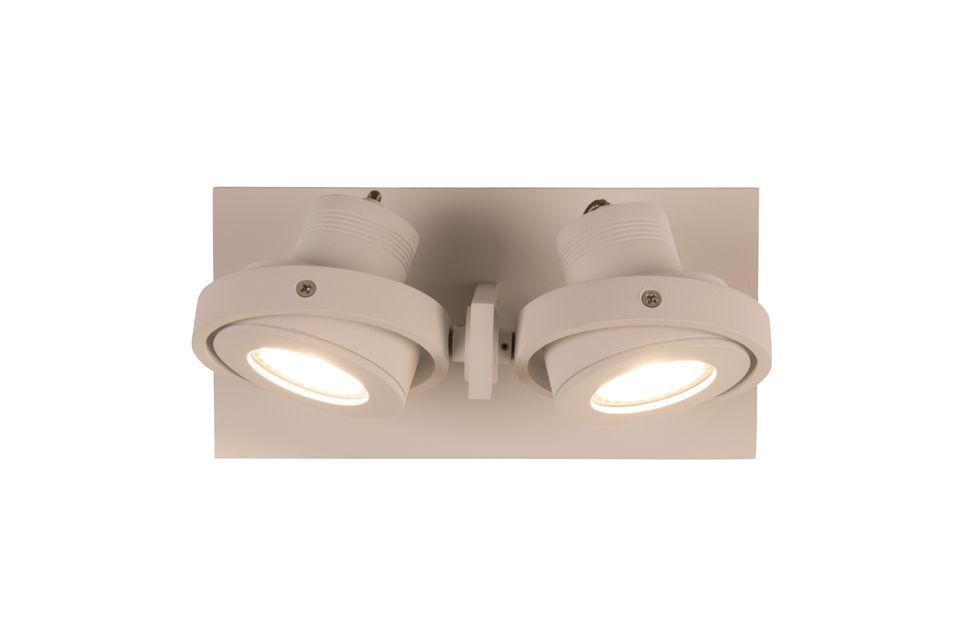 Cette applique double se fixe au plafond pour illuminer la pièce d\'une couleur naturelle