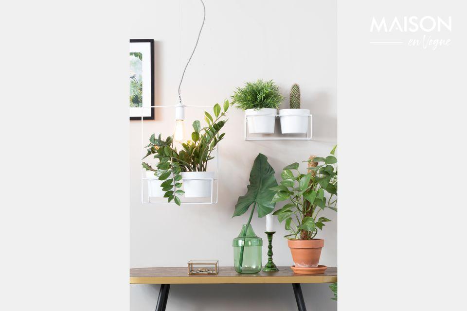 Une lampe très épurée en fer laqué blanc qui se termine par une sorte de jardinière où