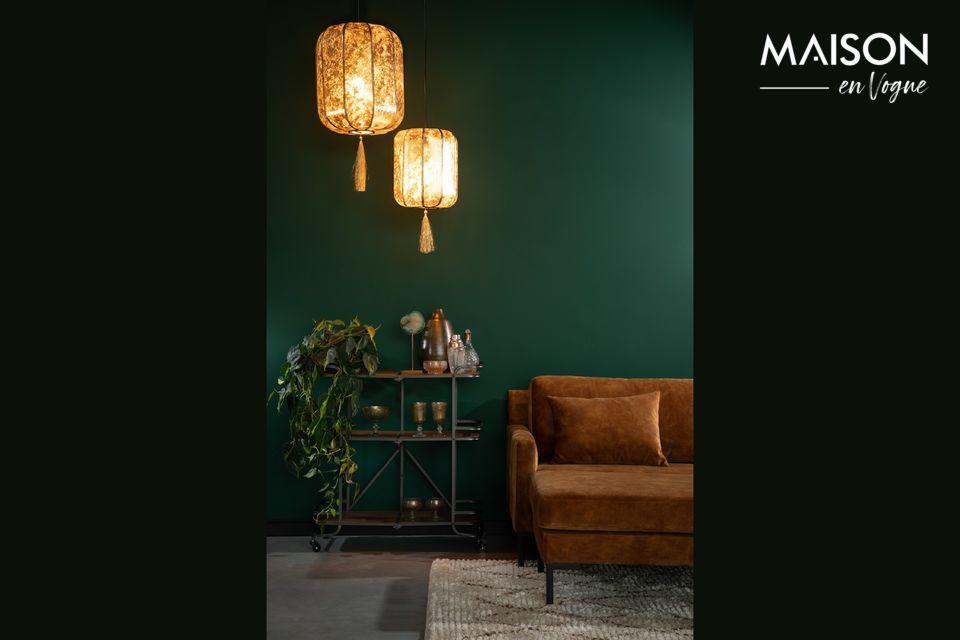 Lampe asiatique avec franges or